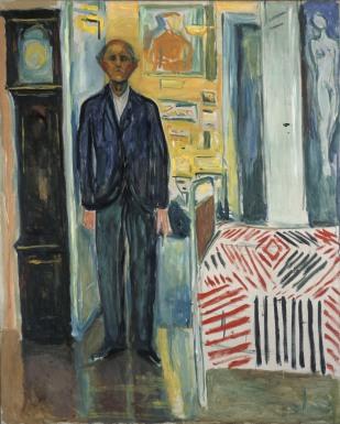 Selvportrett mellom klokken og sengen, 1940-43
